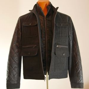 INC * Int'l Concepts Black Wool Bomber Jacket